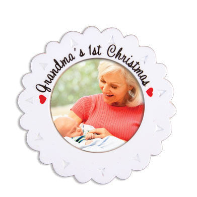 PERSONALIZED CHRISTMAS ORNAMENT PICTURE FRAME-GRANDMA'S FIRST GRAND BABY