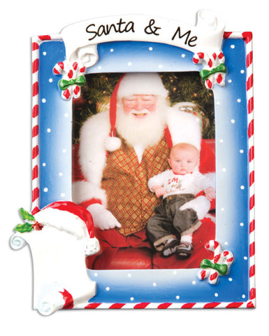PERSONALIZED CHRISTMAS ORNAMENT PICTURE FRAME-SANTA & ME
