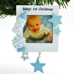 Personalized Christmas Ornament Blue Baby's 1ST Christmas Picture Frame, Baby's First Christmas Picture Frame Ornament, Baby BOY Picture Frame Ornament, Personalized by Santa