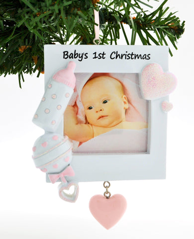 PERSONALIZED CHRISTMAS ORNAMENT PICTURE FRAME-PINK BABY'S 1ST CHRISTMAS