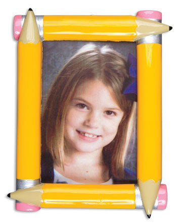 PERSONALIZED CHRISTMAS ORNAMENT PICTURE FRAME-SCHOOL PENCIL