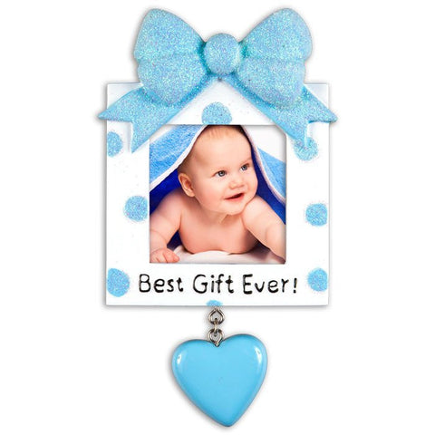 PERSONALIZED CHRISTMAS ORNAMENT PICTURE FRAME-GREATEST GIFT EVER-BLUE