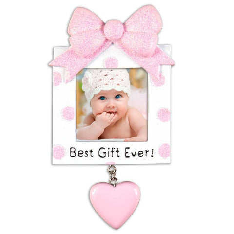 PERSONALIZED CHRISTMAS ORNAMENT PICTURE FRAME-GREATEST GIFT EVER-PINK