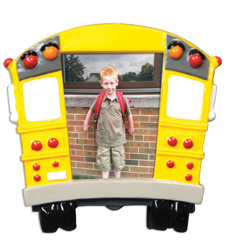 PERSONALIZED CHRISTMAS ORNAMENT PICTURE FRAME-SCHOOL BUS