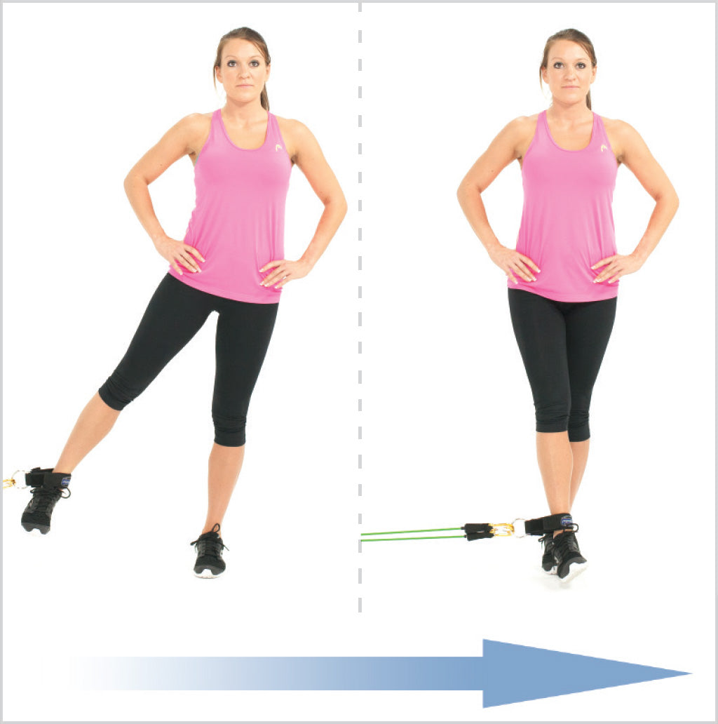 Standing Leg Adduction With Exercise Bands