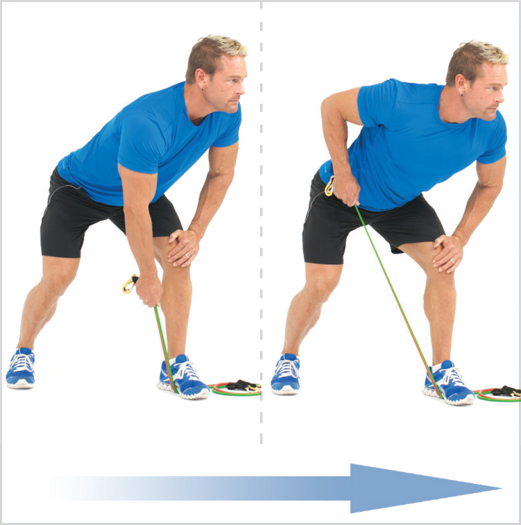 One Arm Bent Over Row (Lawn Mower), with resistance bands ...  One Arm Bent Ov...