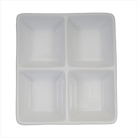 Party Rental Products 4 Section 6 inch  x 6 inch  Square  Tasting/Mini Dishes