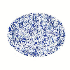Party Rental Products Blue Speckled 18 inch  Oval Trays