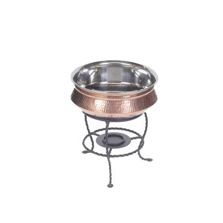 Copper Moroccan Bowl w/ Stand and Sterno - Chafers