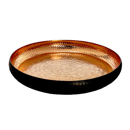 Copper Tray with Hammered Interior