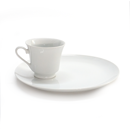 "White Rim 9.5"" Snack Plate and Cup"
