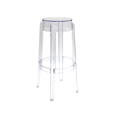 Bar Stool - Clear Ghost Stool -Backless