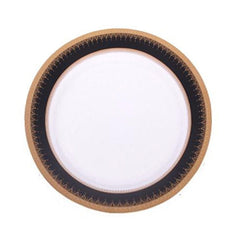 Black and Gold Edge Dinner Plate 10""