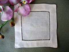 Party Linens Ivory Linen Hemstitched Cocktail Napkin Napkins