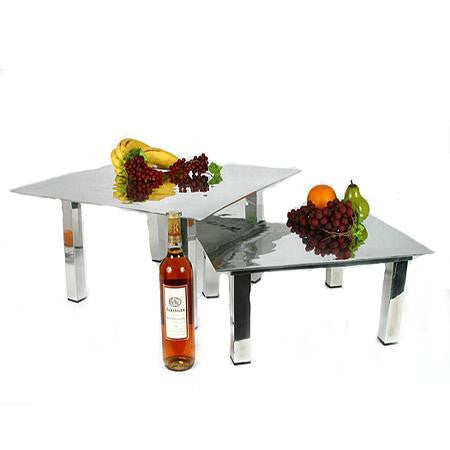 Mod Aluminum Square Stand shown with Mod Aluminum Square Tray
