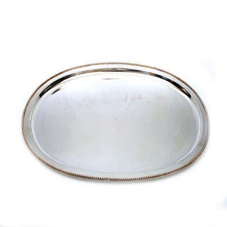 Party Rental Products Oval Beaded 17 inch  x 23 inch   Trays