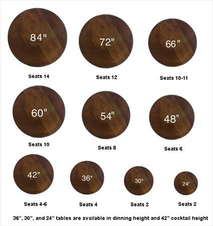 Party Rental Products Round Table Sizes Tables Smith