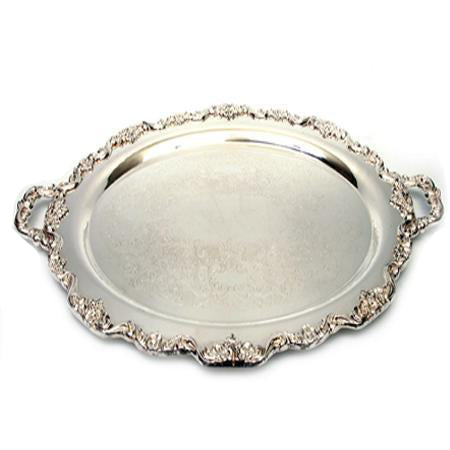 Silver Oval 24 inch  x 16 inch  with Handles - Trays