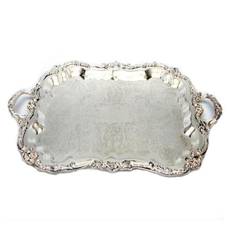 Silver Rectangle 24 inch  x 16 inch  with Handles - Trays