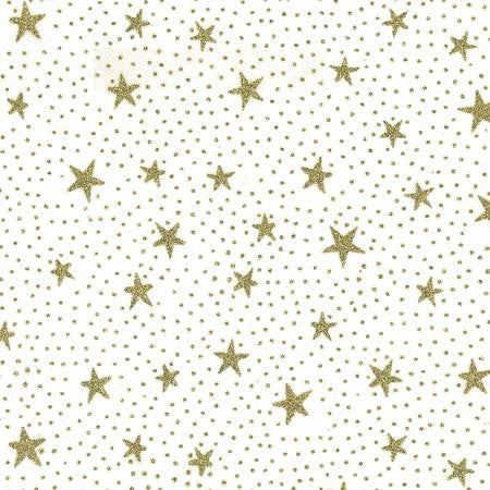 Party Linens Starry Night White with Gold Sheer Toppers