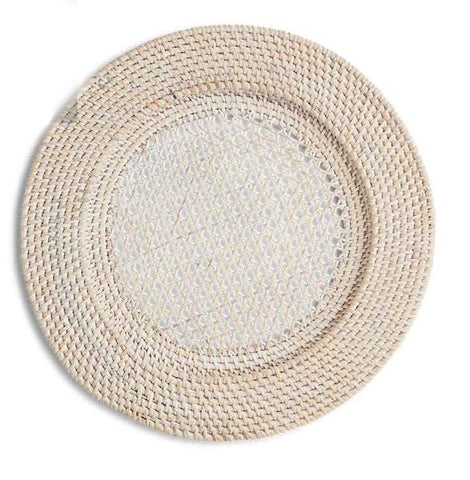 White Wash Rattan Charger 13