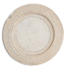 White Wash Rattan Charger 13""