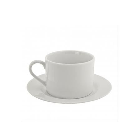 White Coupe Barrel Cup and Saucer - Coffee