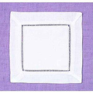 Party Linens White Linen Hemstitched Cocktail Napkin Napkins