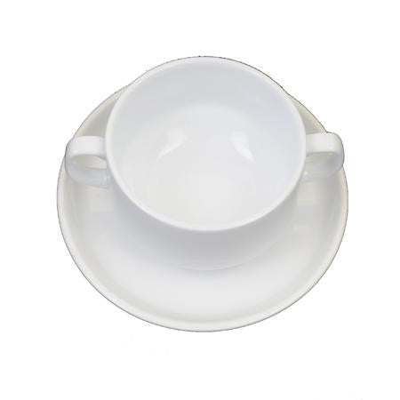 Party Rental Products White Rim Cream Soup Bowl and Saucer China