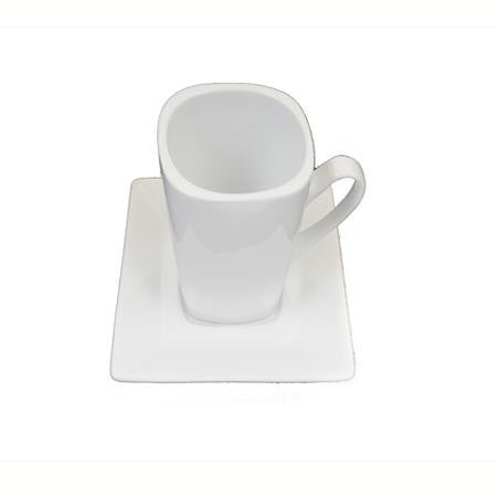 White Square Cup and Saucer - Coffee