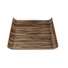 Party Rental Products Wood Curved Dark 12 inch  x 17 inch  Tray Trays