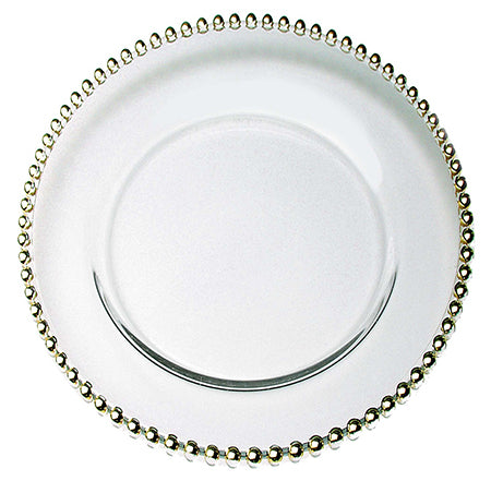 "Beaded Gold 13"" Clear Glass Charger - Chargers"