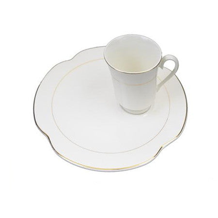 Gold Rim Snack Plate with cup