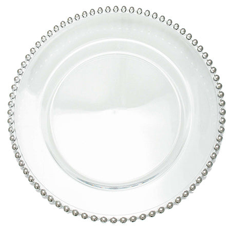 "Beaded Silver 13"" Clear Glass Charger - Chargers"