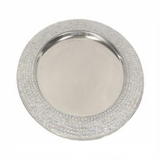 "Silver Sequin Charger 14""- Chargers"