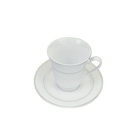Silver Rim Cup and Saucer 8oz