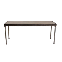 "Tribeca 6' x 24"" Communal  Table with Driftwood Top - Metal Frame - 42"" Height"