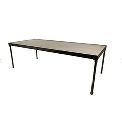 "Tribeca Table 8' x 42"" with White Wash Top - Metal Frame"