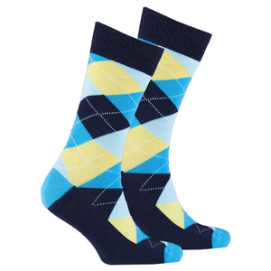 Men's Yellow Sky Argyle Socks