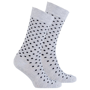 Men's Solid Grey Dot Socks