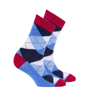 Women's Cerulean Red Argyle Socks