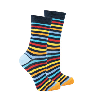 Women's Black Rainbow Stripe Socks