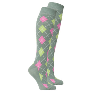 Women's Basil Argyle Knee High Socks