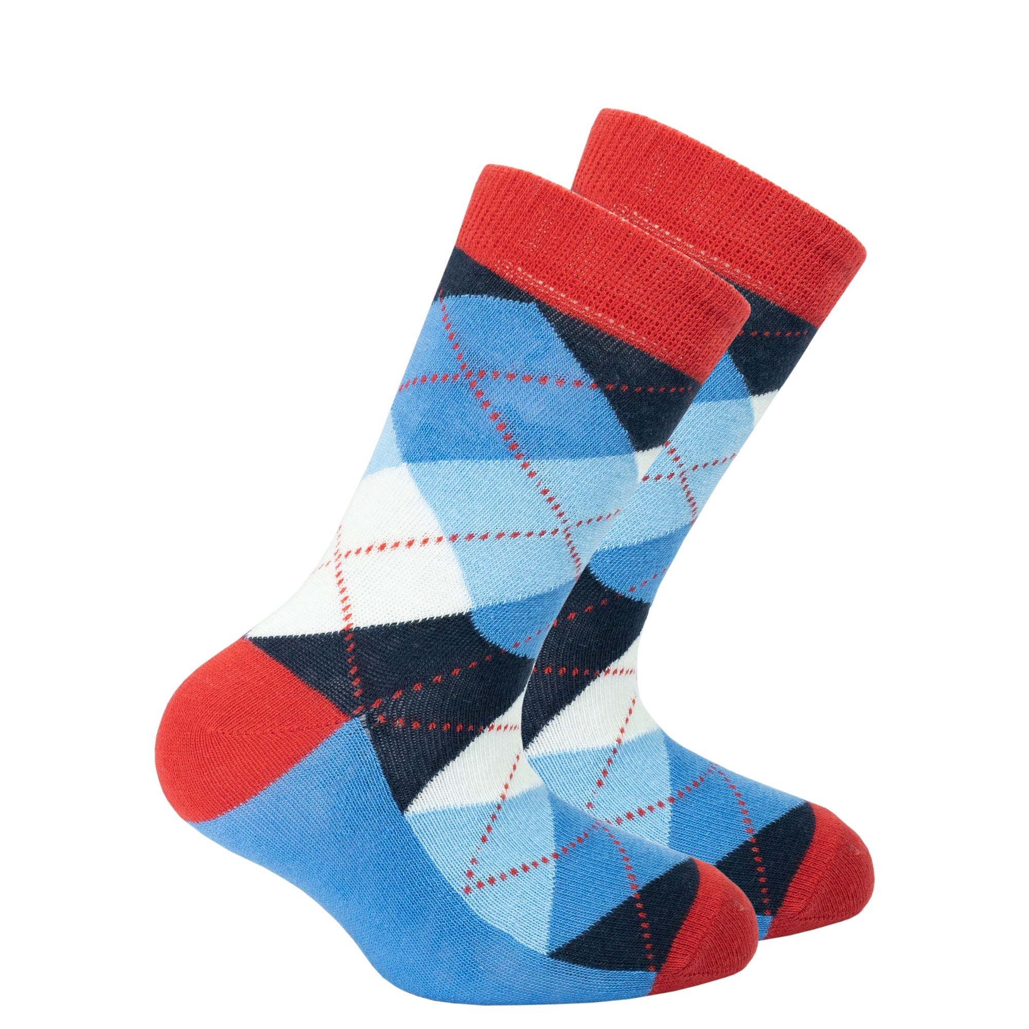 Kids Cerulean Red Argyle Socks