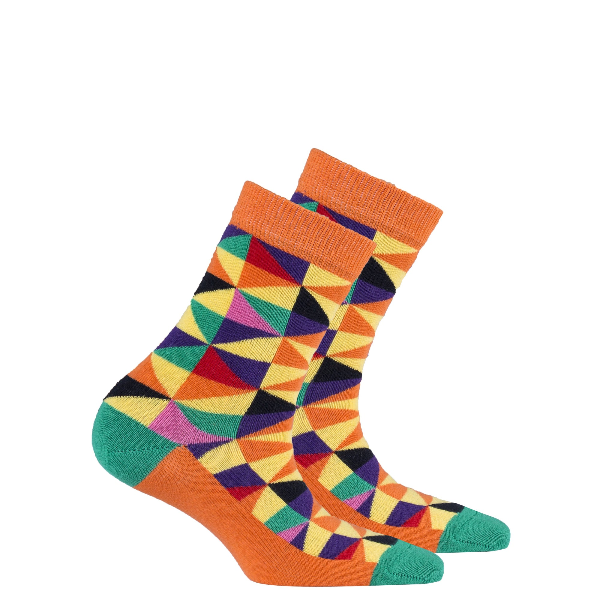 Kids Orange Triangle Socks