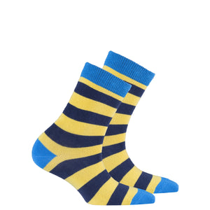 Kids Blue Canary Stripe Socks