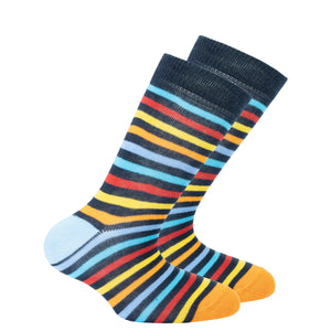 Kids Black Rainbow Stripe Socks