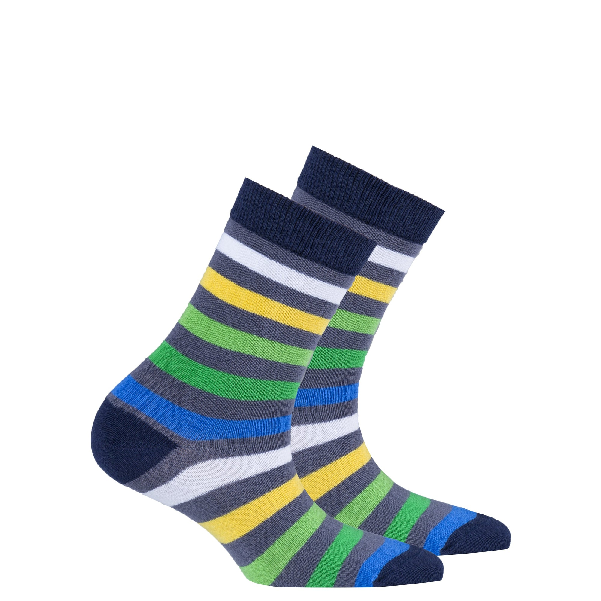 Kids Grey Emerald Stripe Socks