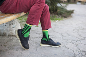 Men's Solid Green Stripe Socks