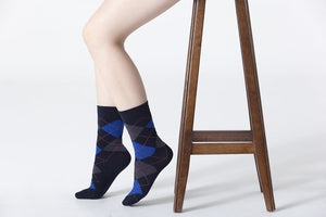 Women's Shiny Navy Argyle Socks